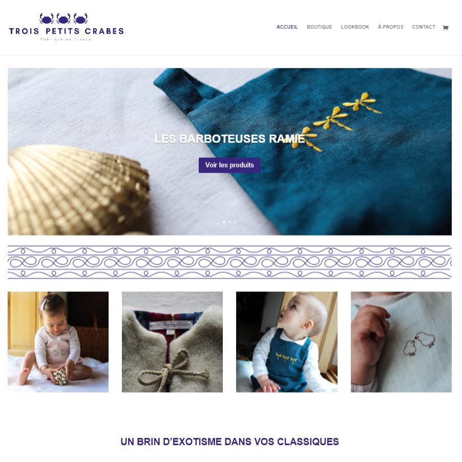 Réalisation Site web e-commerce boutique Trois Petits Crabes